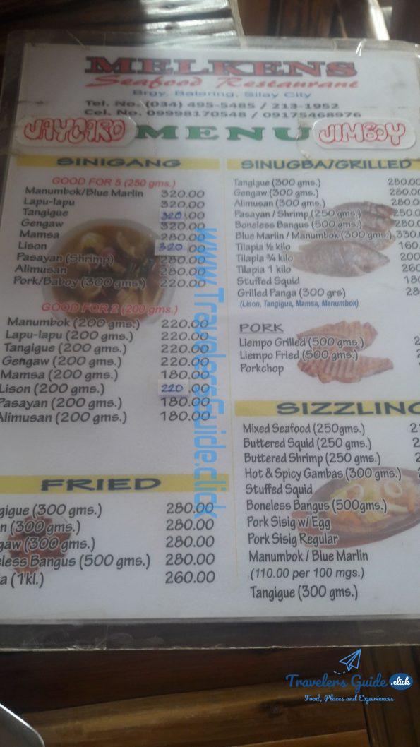 menu of melkens seafood restaurant balaring